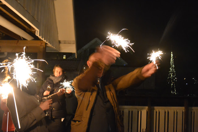 Excited while holding sparklers