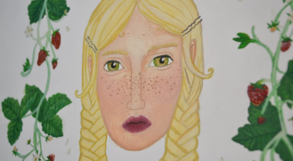 painting of blonde with green eyes