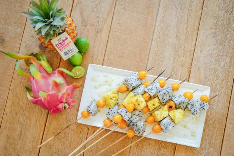 Frieda's Specialty Produce - Grilled Tropical Fruit Kebabs healthy snack ideas to lose weight- healthy snacks list-satisfy cravings