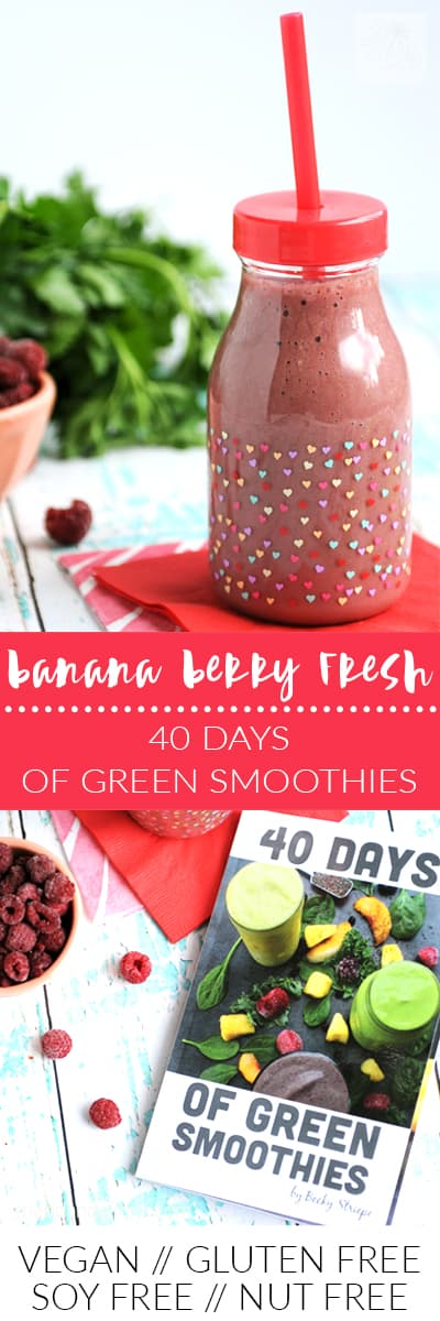 This Banana Berry Fresh smoothie has a secret green ingredient that will wake you up in the morning! (vegan, gluten free, soy free, nut free)