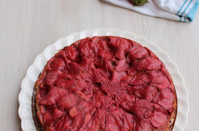 upside down strawberry almond cake