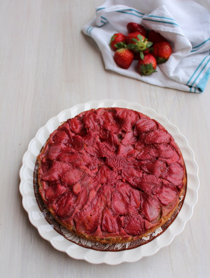 Upside Down Strawberry Almond Cake