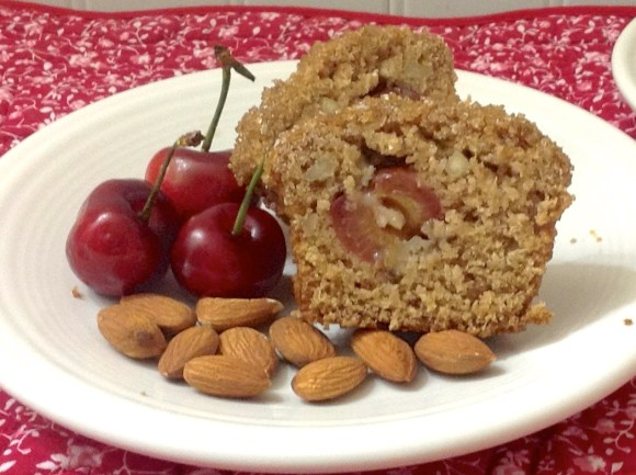 Cherry Almond Oat Bran Amish Friendship Bread Muffins by Diane Siniscalchi | friendshipbreadkitchen.com