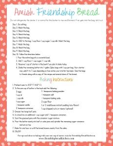 Printable Fun Red Amish Friendship Bread Instructions | friendshipbreadkitchen.com
