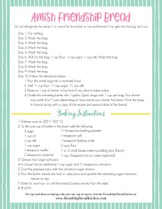 Amish Friendship Bread Instructions - Green Pinstripe