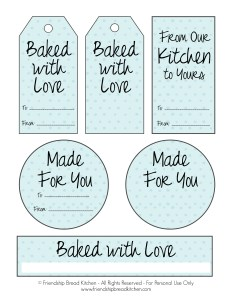 Printable Light Blue DotAmish Friendship Bread Tags and Labels | friendshipbreadkitchen.com