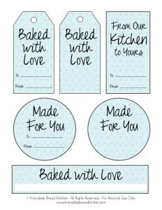 Printable Light Blue DotAmish Friendship Bread Tags and Labels | friendshipbreadkitchen.com