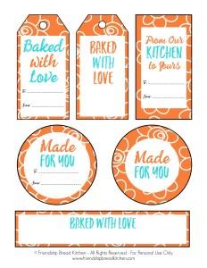 Printable Orange Summer Sun Swirl Amish Friendship Bread Tags and Labels | friendshipbreadkitchen.com