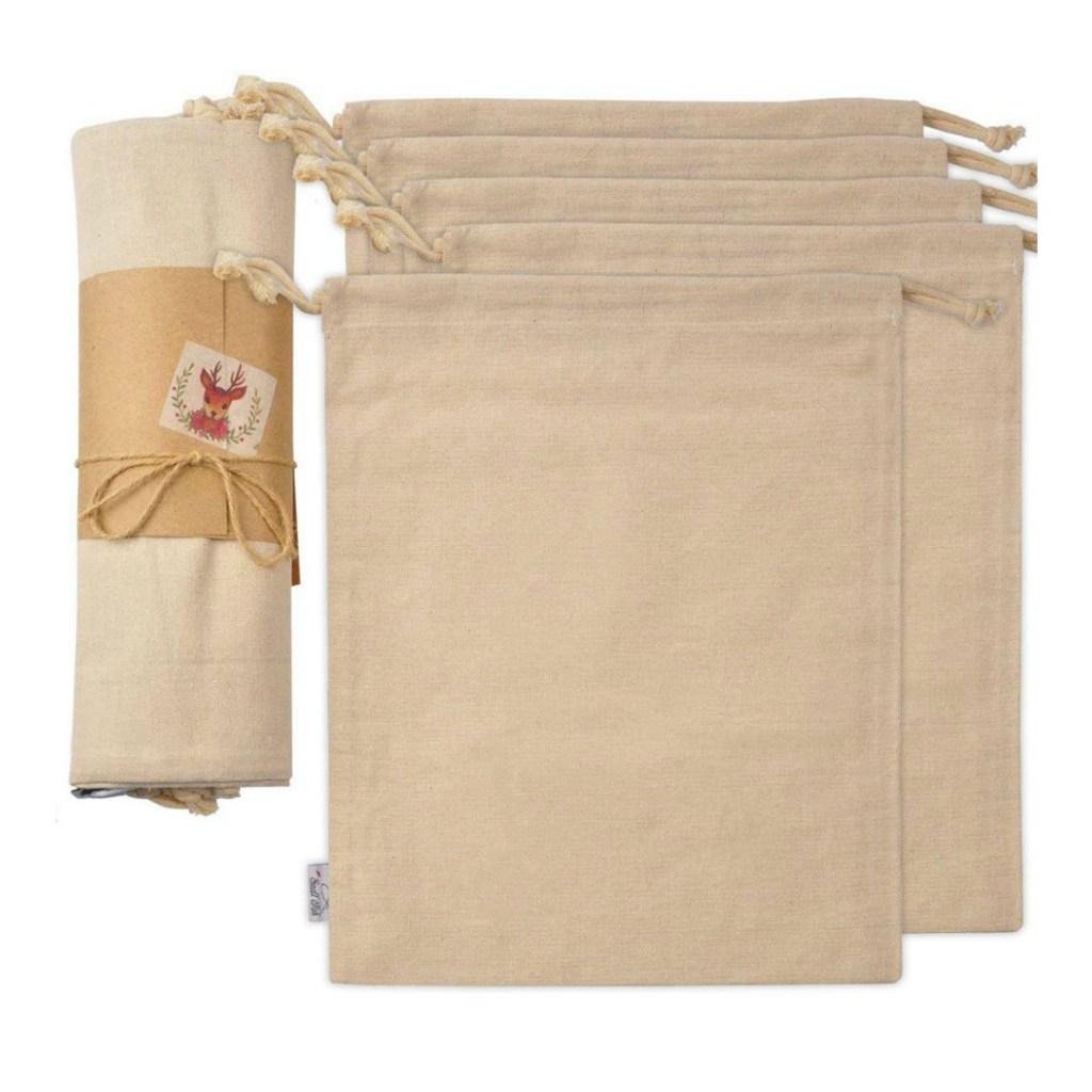 5 cotton drawstring bags
