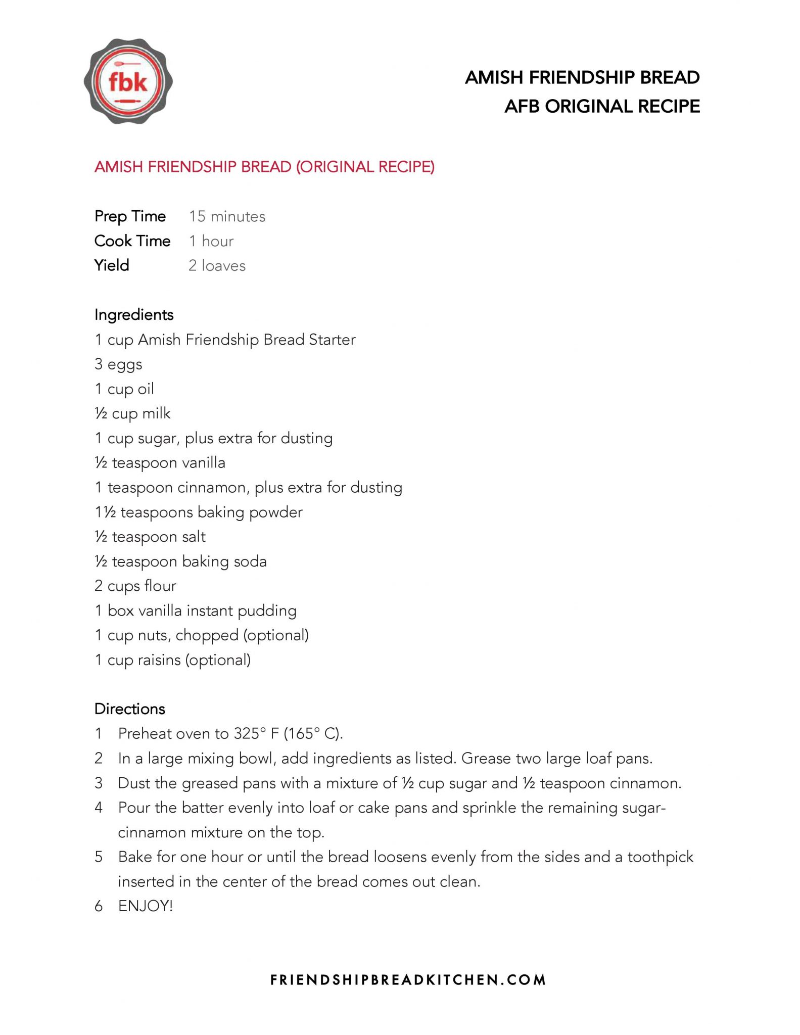 Amish Friendship Bread Planner And Recipe Guide