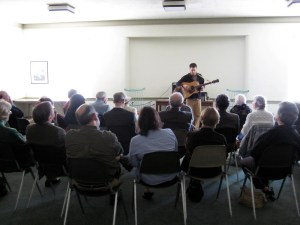 Jon Watts performing at Moorestown (N.J.) Meeting.