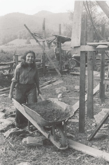 An AFSC workcamp participant at a site in Brasstown, N.C., in 1946 (learn more about this project). Both photos courtesey of American Friends Service Committee.