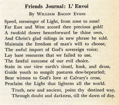 """Friends Journal: L'Envoi"" by William Bacon Evans"
