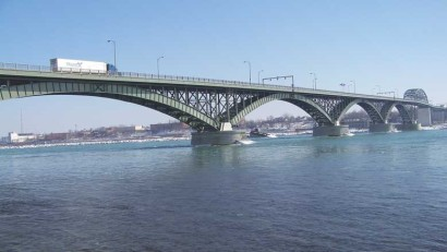 Peace bridge between Canada and the United States at the east end of Lake Erie.