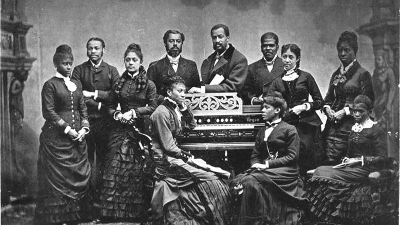 "The Fisk Jubilee Singers in 1882, an African American a cappella ensemble consisting of students at Fisk University. In 2002 the Library of Congress honored their 1909 recording of ""Sweet Low, Sweet Chariot"" by adding it to the United States National Recording Registry."