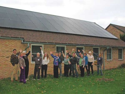 State College Meeting members show off their new solar panels. Courtesy of State College Friends.