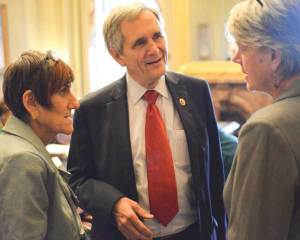 Diane Randall (right) with Representatives Rosa DeLauro (D-CT) and Lloyd Doggett (D-TX).