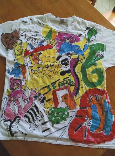 """T-shirt artwork painted by Terry, titled """"Save the Ark."""""""