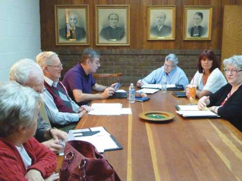 The Steering Committee meets at New Castle under the gaze of the founders. Earlier in the day New Castle Friends' meeting for business had found unity to join the New Association of Friends, April 2013.