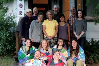 Portland '16-17 QVS Fellows pose with the local support committee after receiving their quilts.