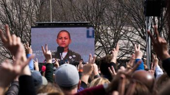 Emma Gonzalez speaks at the March for Our Lives. Photo: Mobilus In Mobili via Wikimedia.