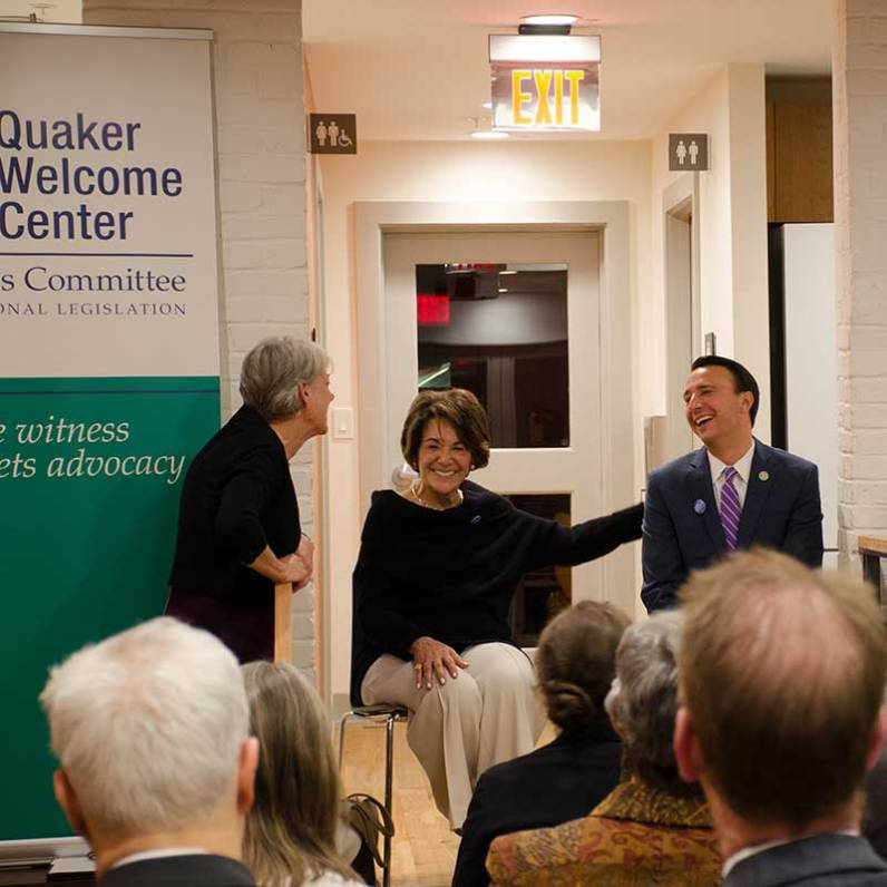Executive secretary Diane Randall moderates a conversation in the Quaker Welcome Center with Representatives Anna Eschoo (D-CA) and Ryan Costello (R-PA), both members of the bipartisan Climate Solutions Caucus, November 2017.
