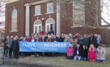 "West Richmond (Ind.) Meeting shares FCNL's message of ""Love Thy Neighbor,"" February 2017."