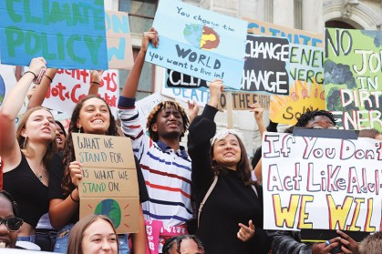 George School students participating in a youth climate strike in Philadelphia, Pa.