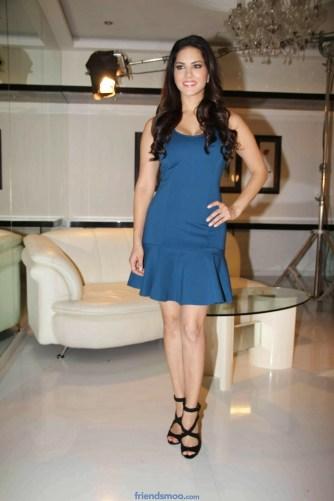 Sunny Leone Latest Photos in Blue Short Dress