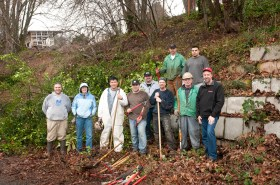 Gunderson employees helping clear invasive plant species at Baltimore Woods. Feb. 20th, 2012
