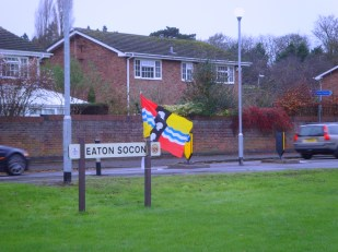 Bedfordshire Flag flying by the village sign in Eaton Socon