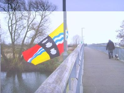 Bedfordshire flag on Willow Bridge, Eaton Socon
