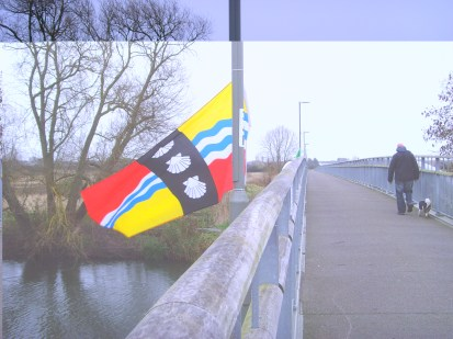 Bedfordshire flag on Willow Bridge, Eaton Socon