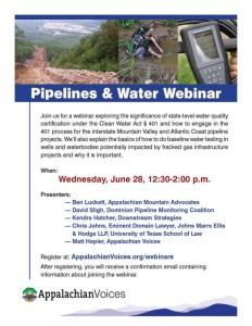 Pipelines & Water Webinar, Wednesday, June 28, 12:30-2 pm