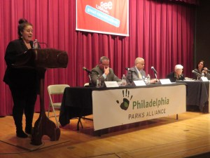 Phila. Parks Alliance Exec. Dir. Lauren Bornfriend introduces mayoral panel on parks & culture at Central Free Library. Jim Kenney, Tony Williams, Lynne Abraham & Melissa Bailey were on stage then; Nelson Díaz & Doug Oliver arrived shortly thereafter.