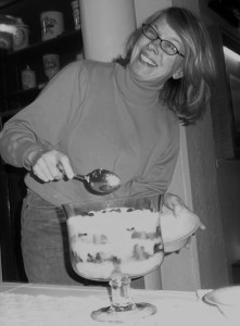 Cindy Roberts dishing out her historically-accurate (& tasty) Victorian trifle dessert at Dickens' Birthday Party, 2011.