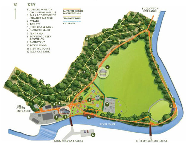 Plan of Congleton Park with points of interest numbered in the Legend.