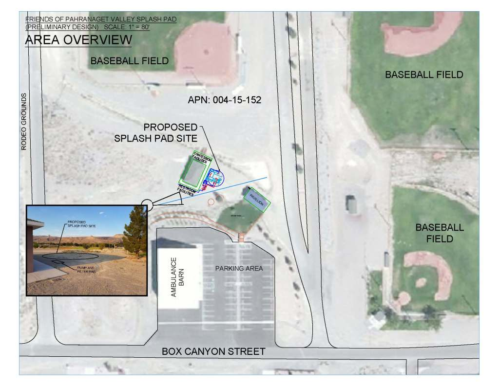 Preliminary design north of the ambulance barn in Alamo where Friends of Pahranagat Valley plans to build a splash pad.