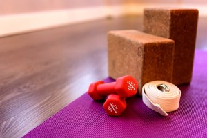 mat dumbbells block