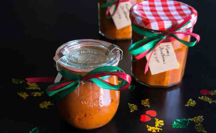 Gluten free, vegan pumpkin and cranberry chutney. Great home made Christmas present.