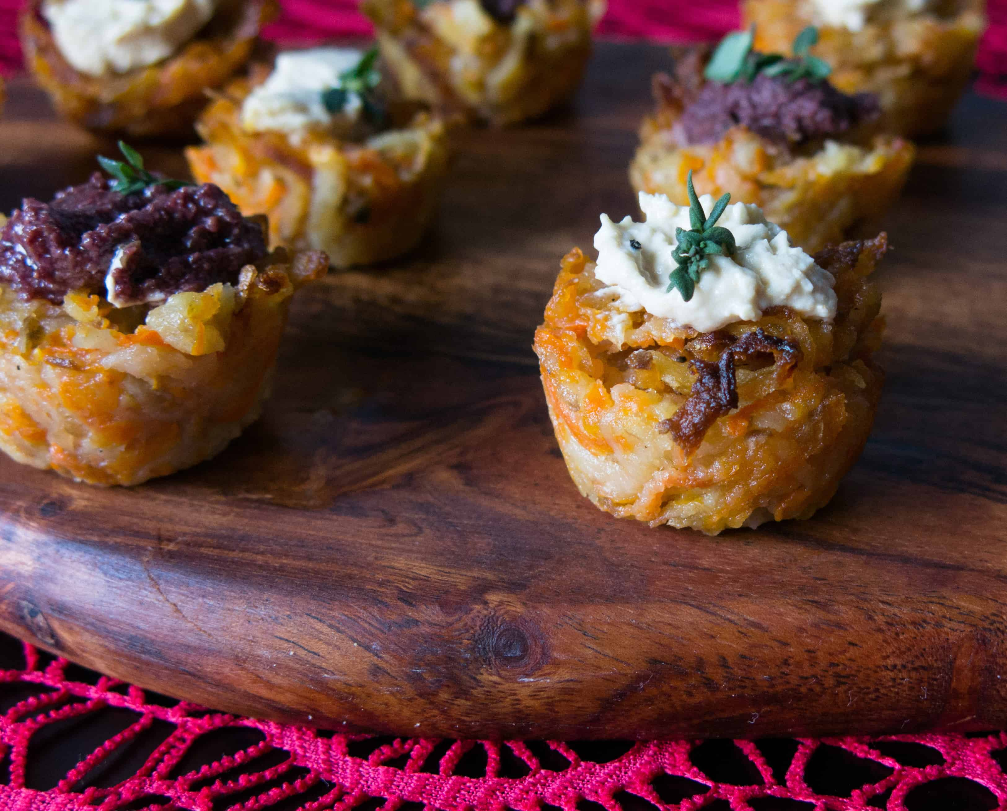 Potato and Butternut Squash Rosti. Canapes with black olive tapenade and houmous. Gluten free, vegan, onion free, garlic free