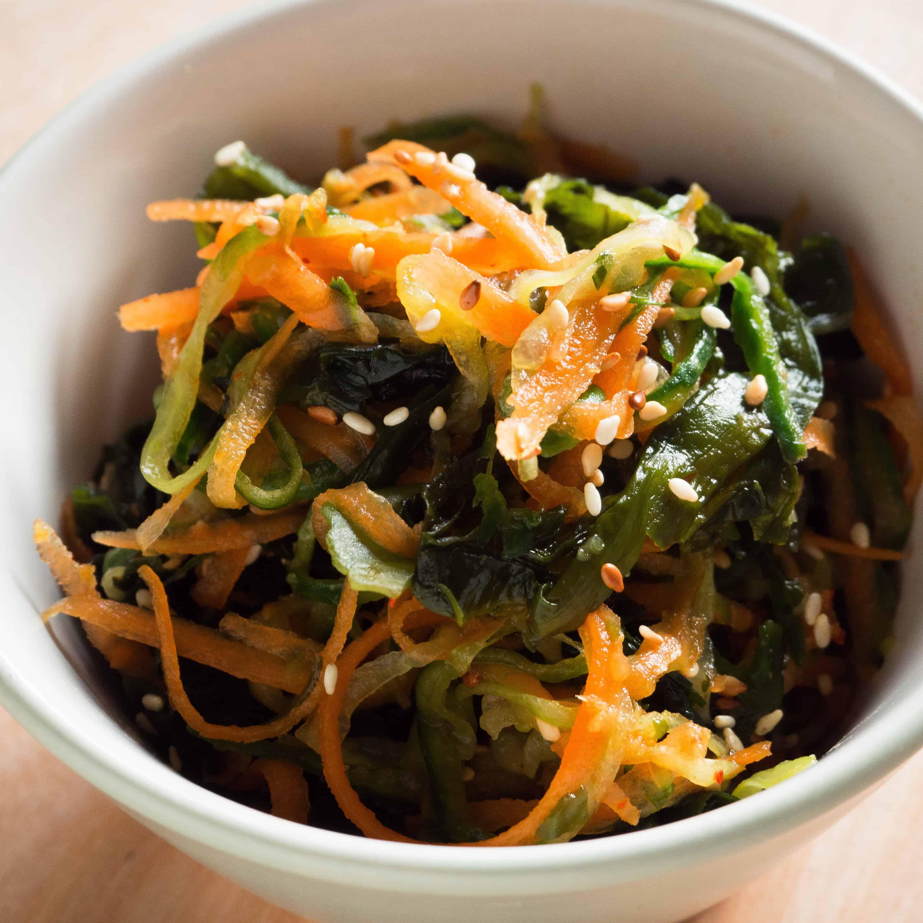 Cucumber, Seaweed and Carrot Salad. Gluten-free, vegan, allergy-friendly, seasonal