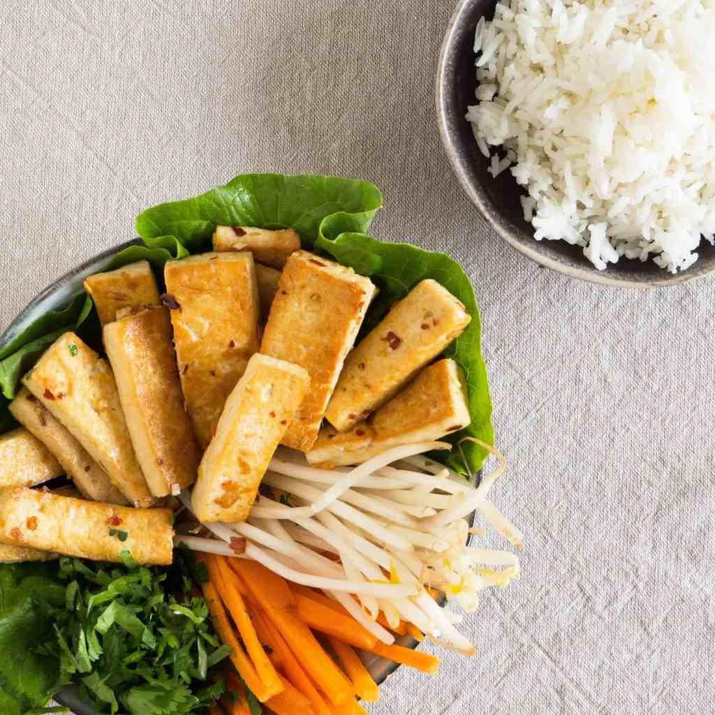 Lemongrass Tofu Bowl - served with plain rice. Gluten-free, vegan.