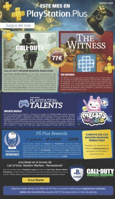 Call of Duty: Modern Warfare Remastered y The Witness los juegos gratis para Marzo 2019 de PlayStation Plus