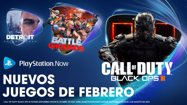 Call of Duty: Black Ops III, WWE 2K Battlegrounds y Detroit: Become Human entre las novedades de PlayStation Now en febrero