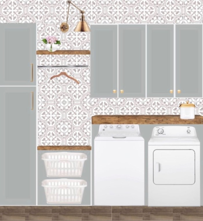 laundry room-design-board-inspiration-blue-gray-cabinets-pages-cement-tile-rustic-shelves-gold-arm-sconce