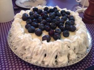 Blåbær/birkes-lagkage med hjemmelavet kagecreme uden mælk og gluten