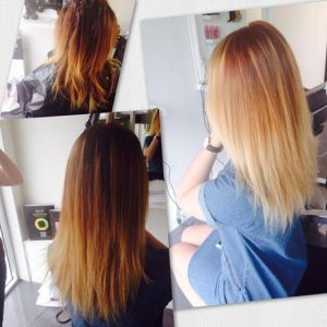 Brown copper fading into lightest blond Hair colour by Daiva & Genifer