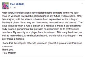 Paul McBeth PDGA boikott Facebook