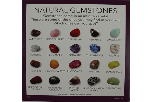 Back of the Gemstones Collection Box